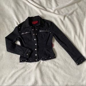 TRIPP NYC Black Silver Studded Jean Jacket medium